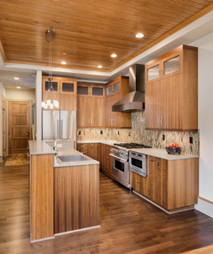 Kitchen in new luxury home with dark wood