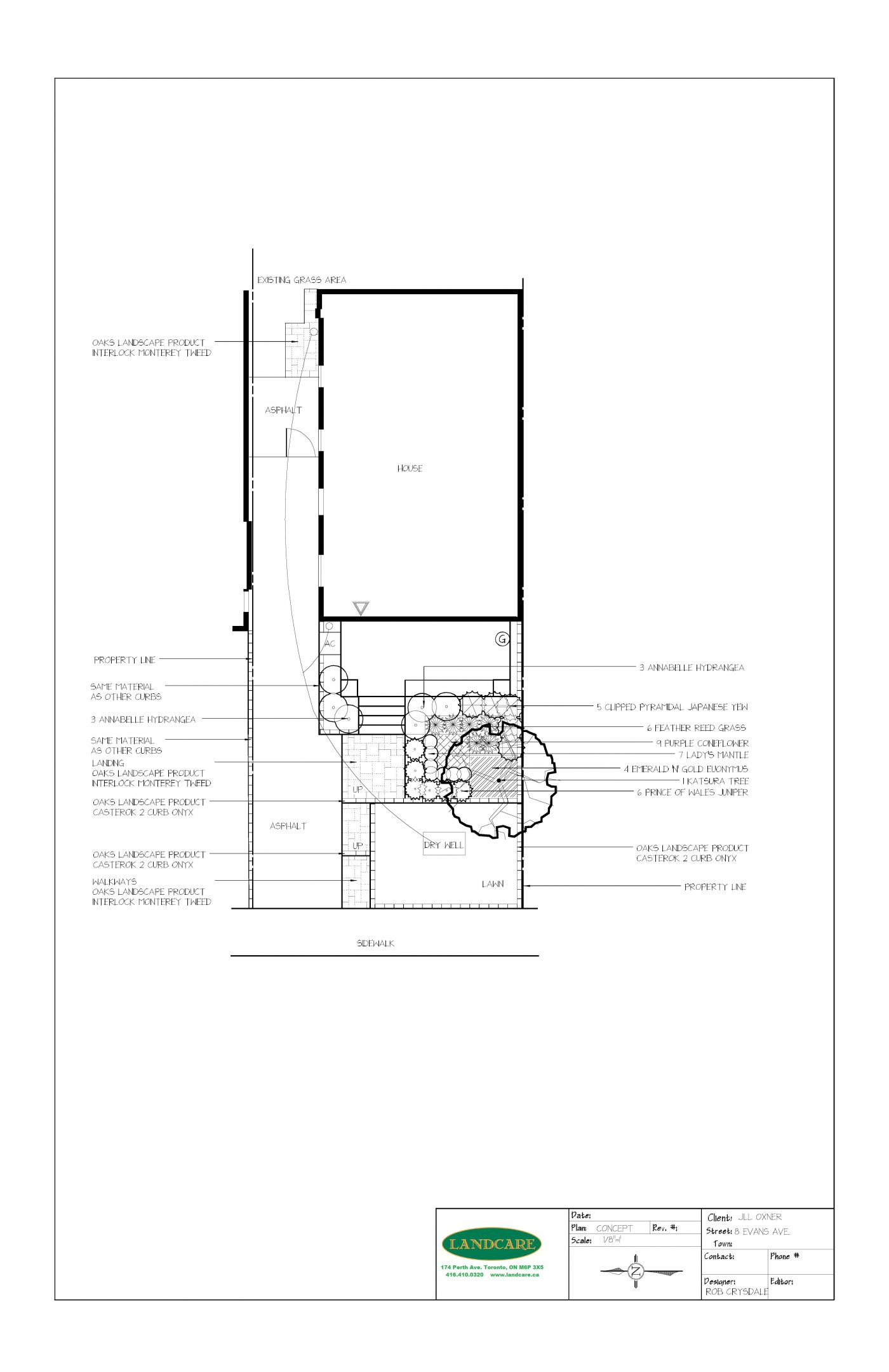 8 EVANS AVE. - OXNER JILL - FRONT YARD CONCEPT PLAN - 16-08-12 RS